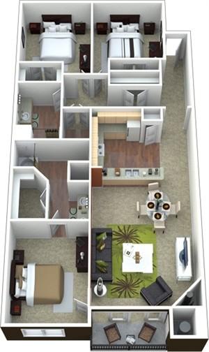 1,461 sq. ft. to 1,527 sq. ft. C1 floor plan