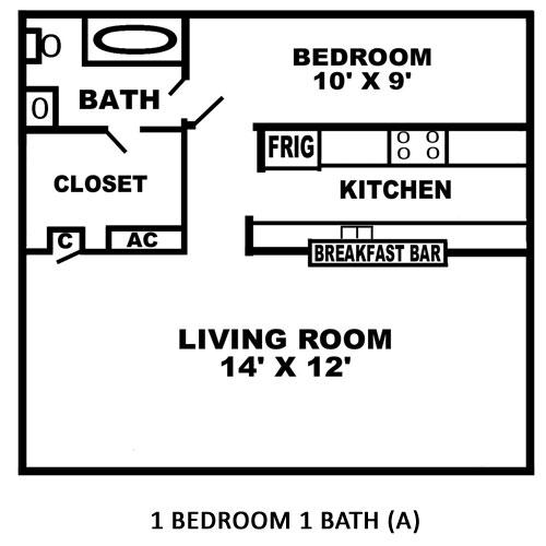 495 sq. ft. A floor plan