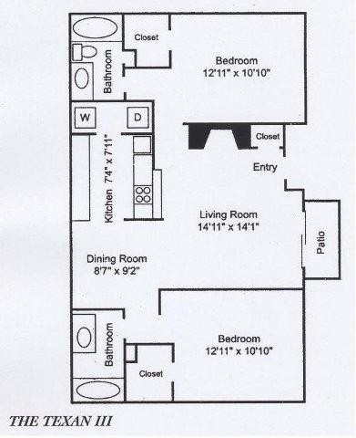931 sq. ft. B3 floor plan
