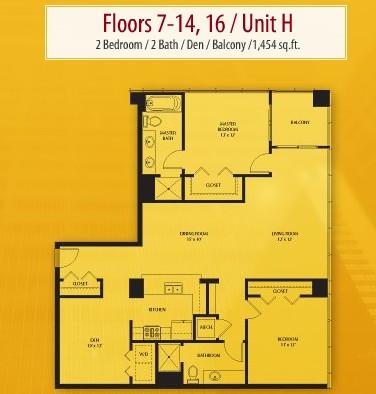 1,454 sq. ft. H floor plan