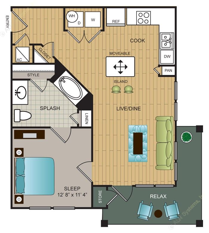 632 sq. ft. A5 floor plan