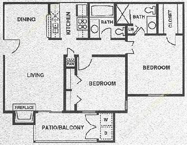 790 sq. ft. B1 PH I floor plan