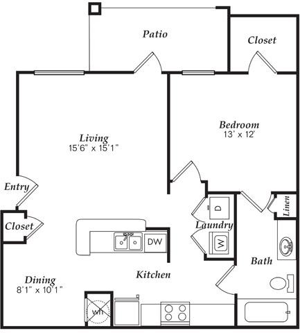 822 sq. ft. A2 floor plan