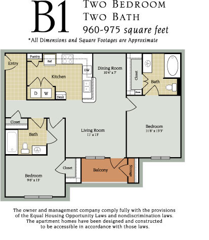 960 sq. ft. to 975 sq. ft. B1 60% floor plan