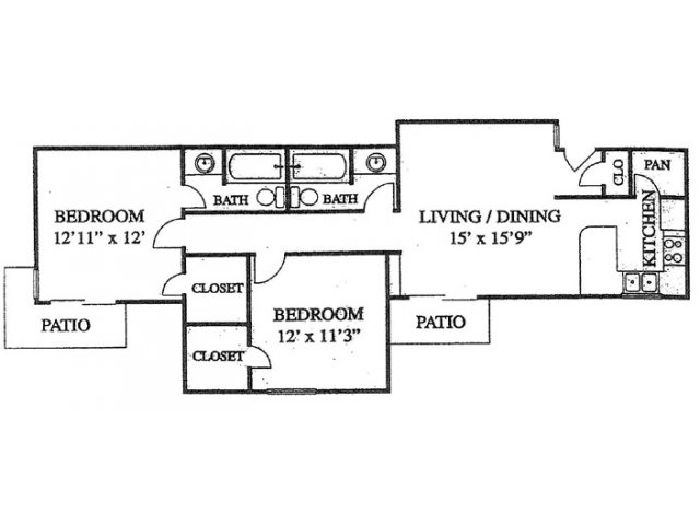 1,121 sq. ft. floor plan