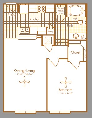 744 sq. ft. BISSONNET floor plan