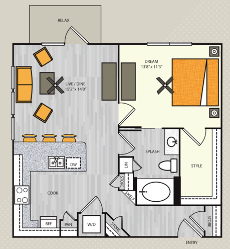 780 sq. ft. A5 floor plan