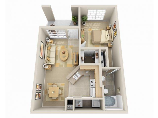 640 sq. ft. A/60% floor plan