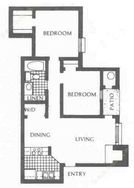 777 sq. ft. DW/UP floor plan