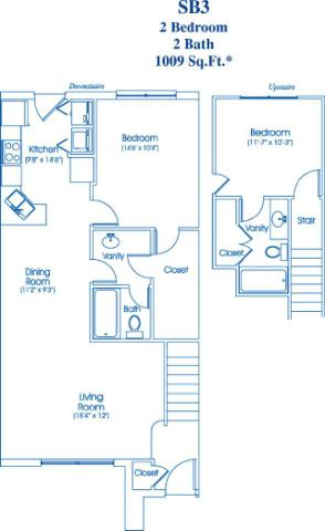 1,009 sq. ft. SB3 floor plan