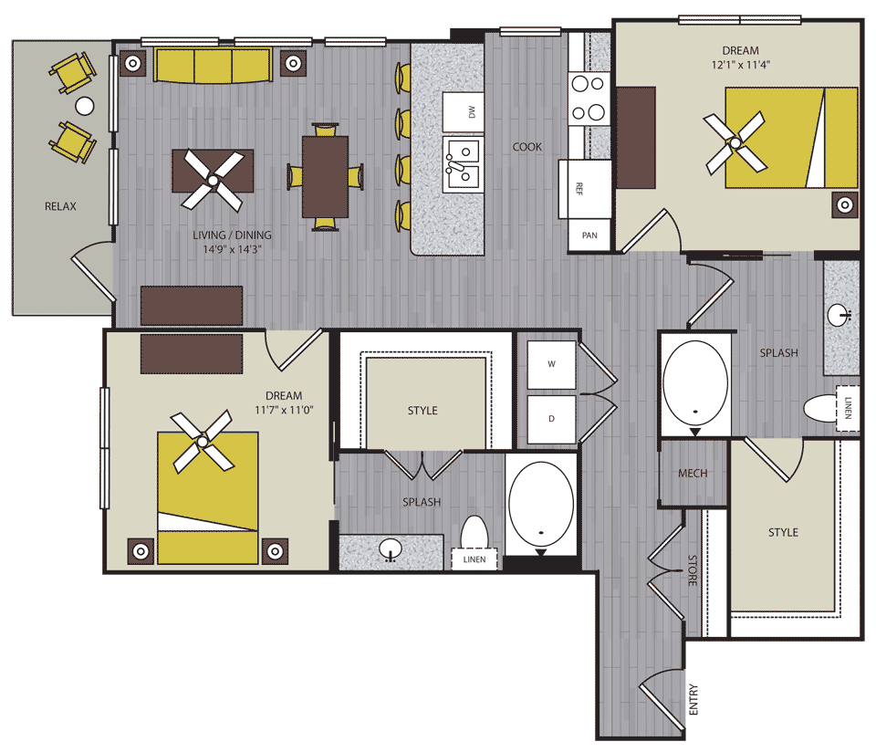 1,115 sq. ft. to 1,121 sq. ft. B3 floor plan