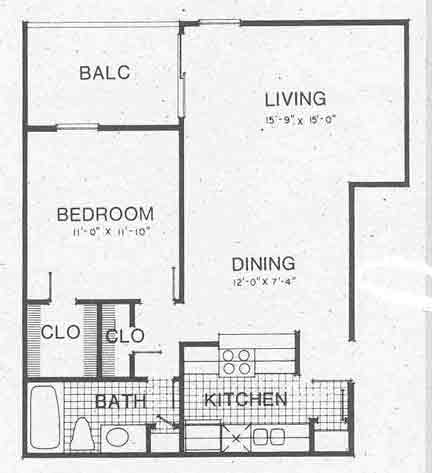 705 sq. ft. A4 II floor plan