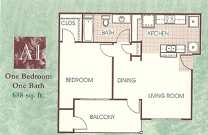 688 sq. ft. A1 floor plan
