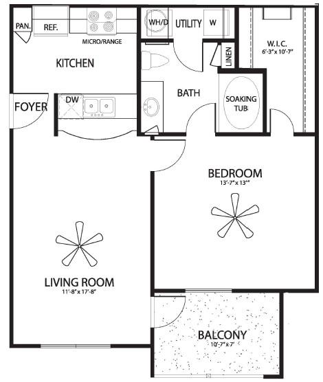 703 sq. ft. Blanco floor plan
