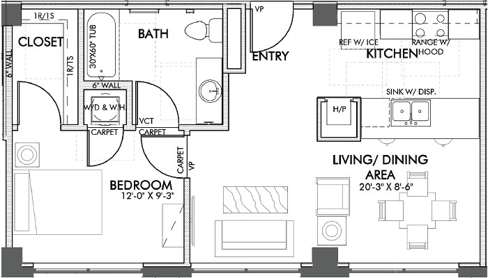 631 sq. ft. Throckmorton.2 60% floor plan