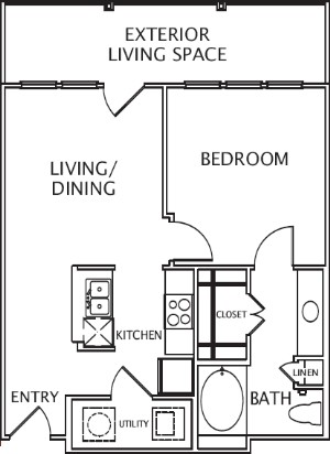 700 sq. ft. Katia floor plan
