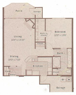 853 sq. ft. A2 floor plan