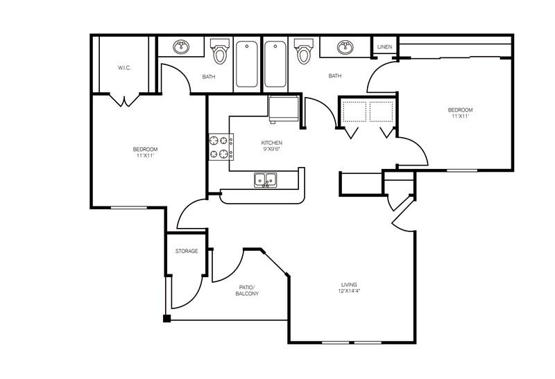 915 sq. ft. Whitney floor plan