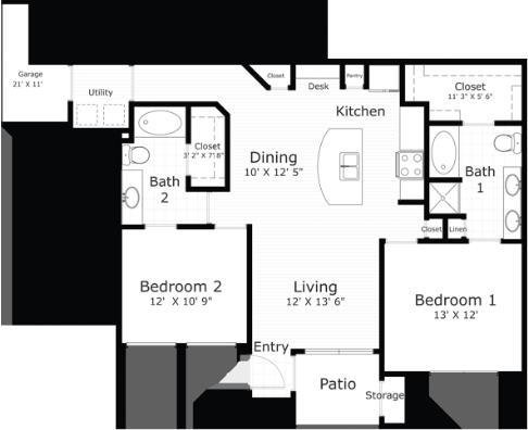 1,111 sq. ft. Mtstic floor plan