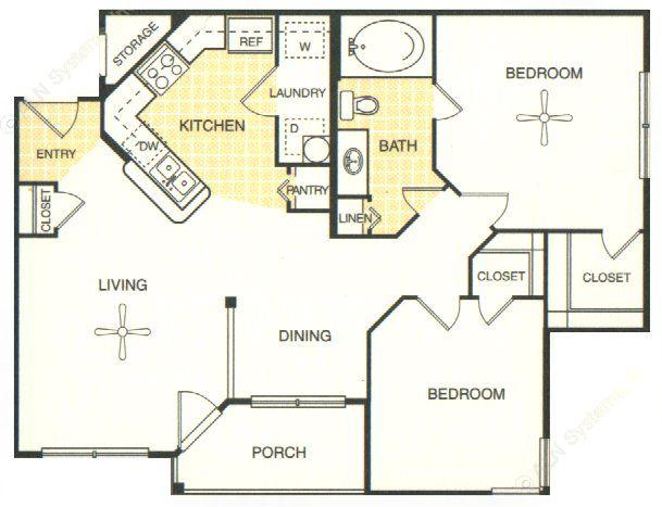 838 sq. ft. Georgetown floor plan