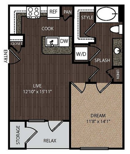 673 sq. ft. A1 floor plan