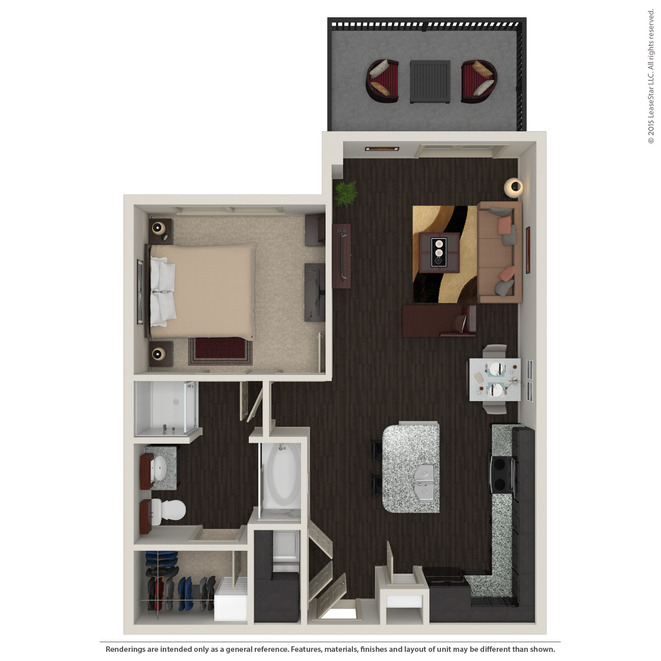 758 sq. ft. A2.2 floor plan