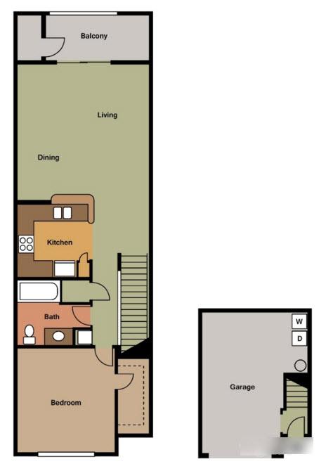 739 sq. ft. A TH floor plan