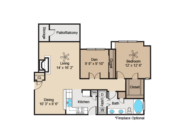 956 sq. ft. to 992 sq. ft. A5 floor plan