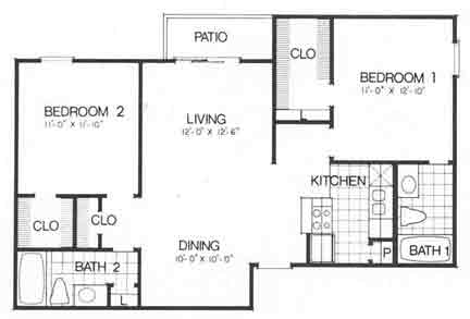 926 sq. ft. I B2 floor plan