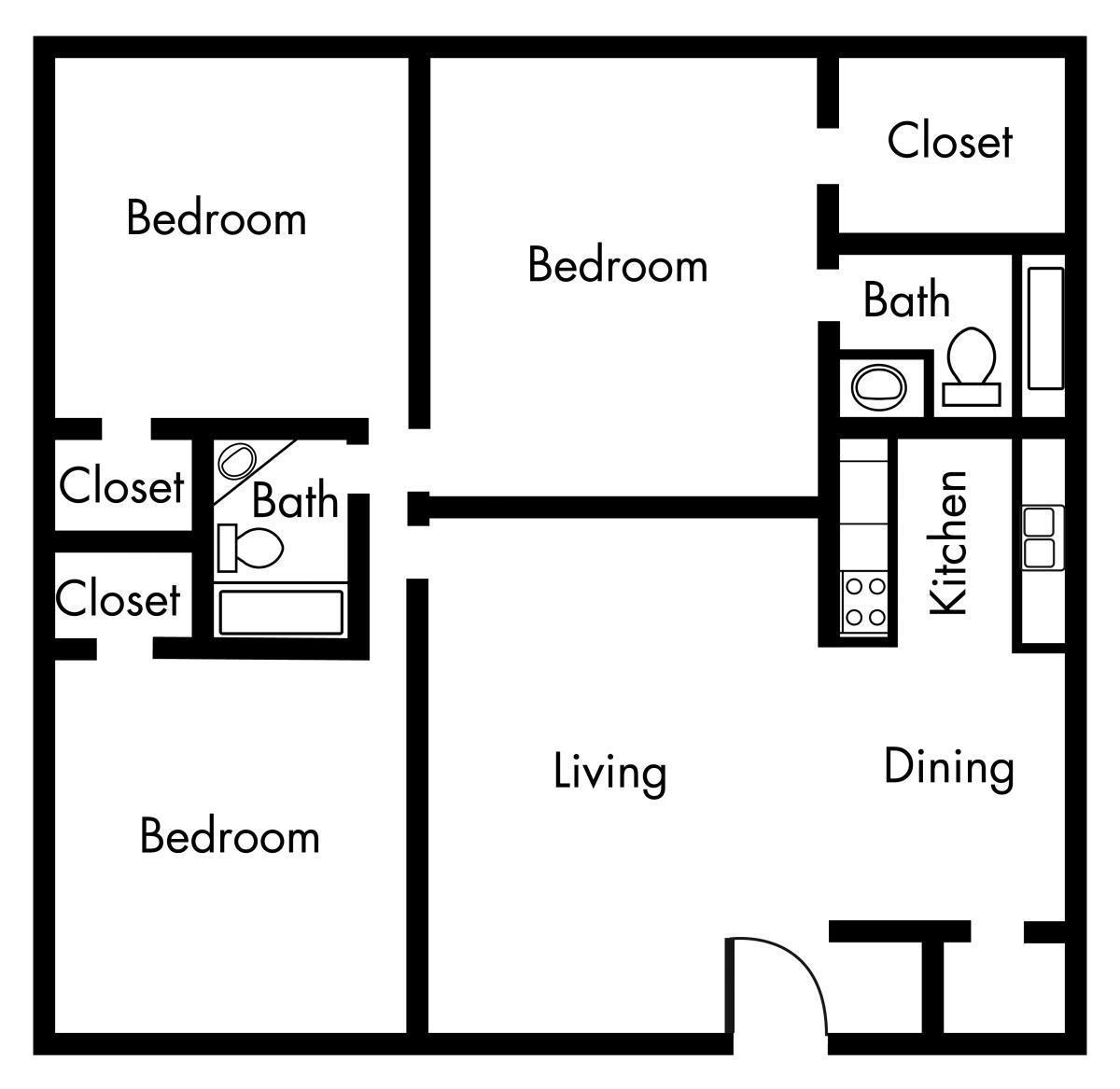 1,232 sq. ft. C1 floor plan