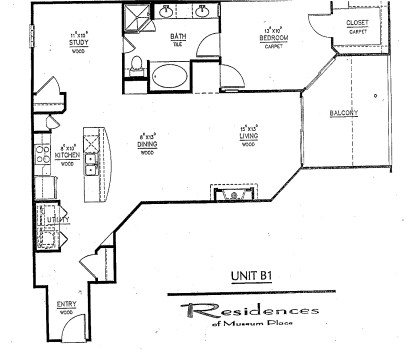 1,053 sq. ft. B1 floor plan