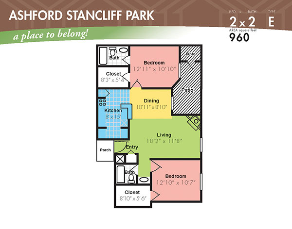 960 sq. ft. J floor plan