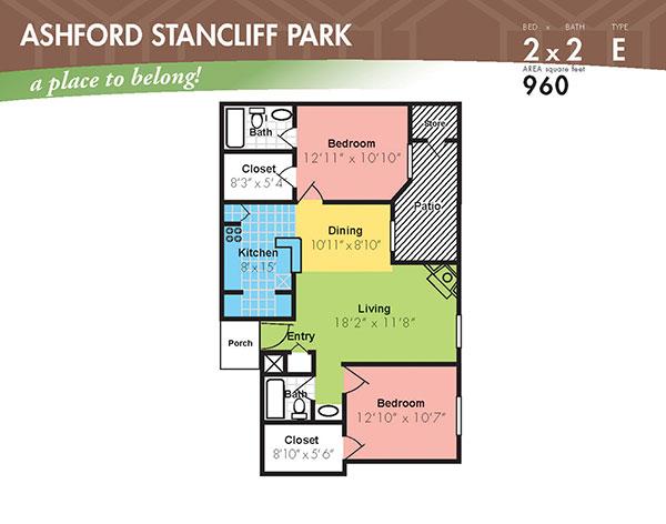 960 sq. ft. J floor plan