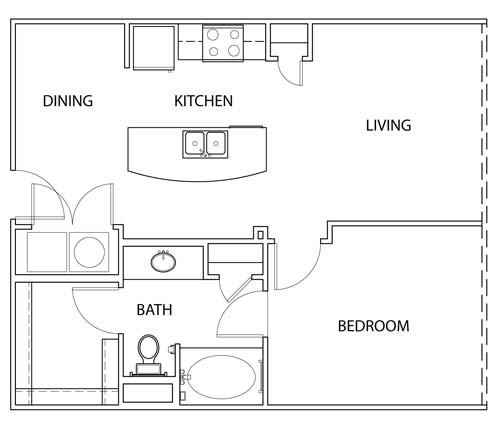 702 sq. ft. A1O floor plan