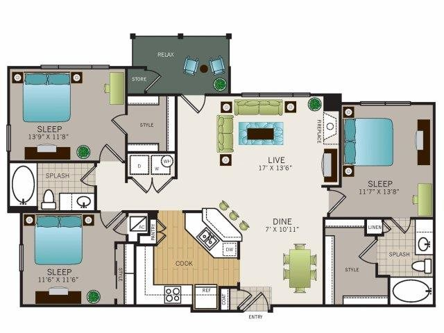 1,324 sq. ft. to 1,370 sq. ft. C1 floor plan