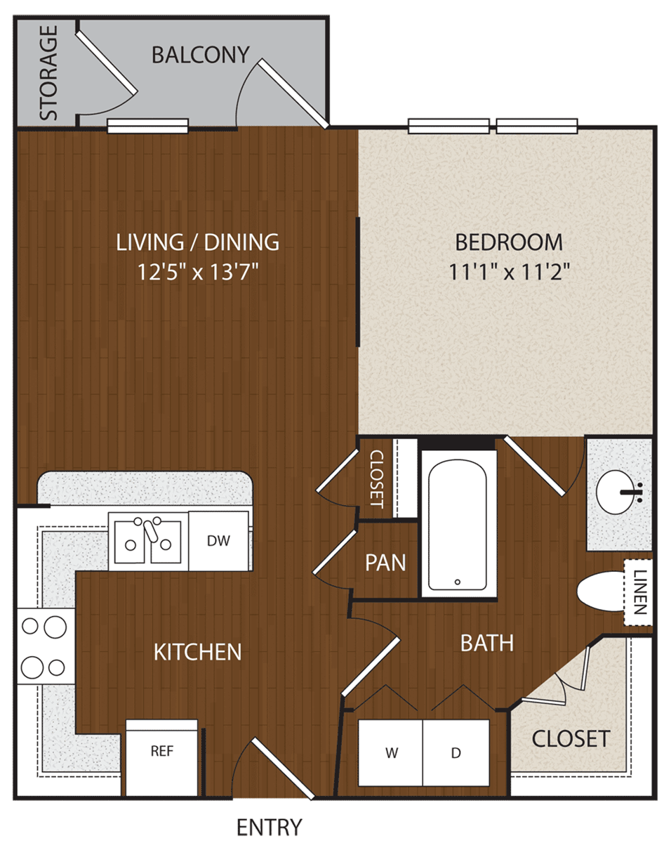 576 sq. ft. A1 floor plan