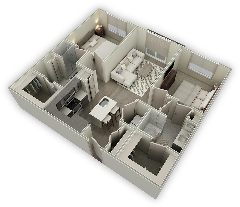 1,147 sq. ft. B3 floor plan