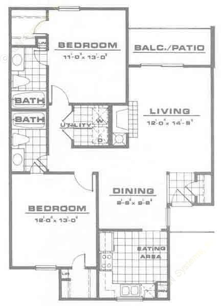 970 sq. ft. B1 floor plan