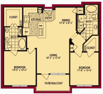 1,103 sq. ft. DOLCETTO floor plan