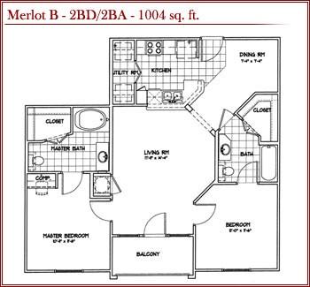 1,004 sq. ft. MERLOT B floor plan