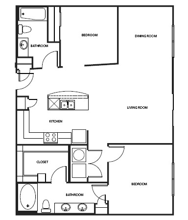 1,086 sq. ft. 3B1-2 floor plan
