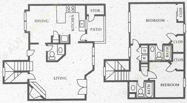 1,134 sq. ft. SB3 floor plan