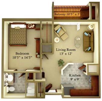 600 sq. ft. Tradition floor plan