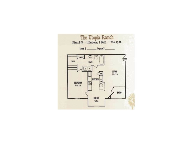 755 sq. ft. Utopia Ranch floor plan