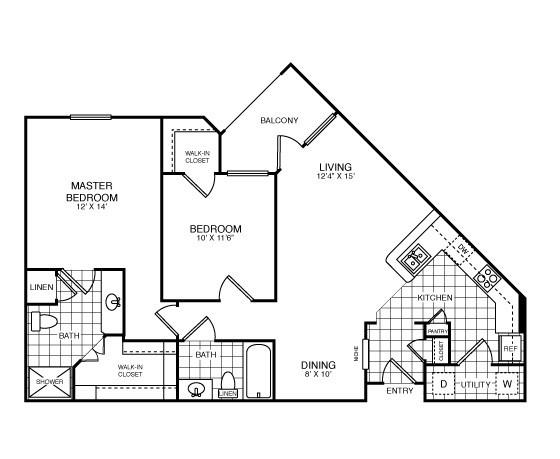 1,039 sq. ft. Sterling/B1 floor plan