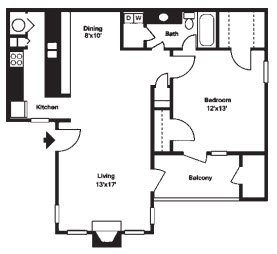 747 sq. ft. B floor plan