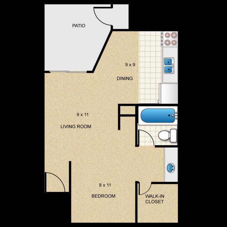 515 sq. ft. E1 floor plan