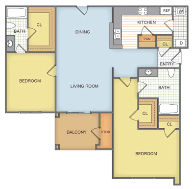 1,098 sq. ft. Silverstone - B32-1 GAR floor plan