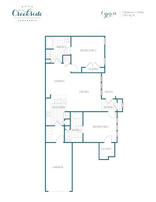 1,302 sq. ft. to 1,324 sq. ft. Cypress floor plan