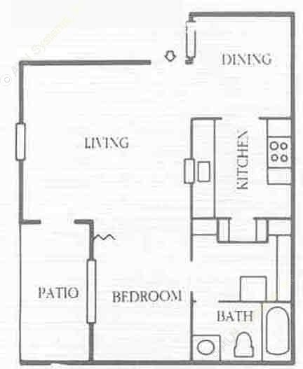 568 sq. ft. E3 floor plan